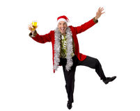 Homme d'affaires supérieur bu heureux de râteau en partie de pain grillé de Champagne Christmas au travail utilisant le chapeau d Photos libres de droits