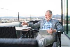 Homme d'affaires supérieur travaillant au comprimé en café de dessus de toit Photographie stock libre de droits
