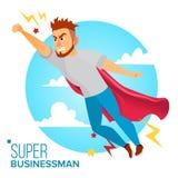 Homme d'affaires superbe Character Vector Cap rouge Homme d'affaires volant au succès Concept de direction Moderne créatif illustration libre de droits