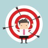 Homme d'affaires sur des cibles de tir à l'arc Photos libres de droits