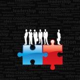 Homme d'affaires sur des parties de puzzle Photos libres de droits