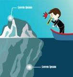Homme d'affaires sur l'iceberg de regard de bateau par binoculaire Photographie stock libre de droits