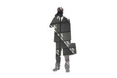 Homme d'affaires sur la silhouette de téléphone - résumé Photo stock