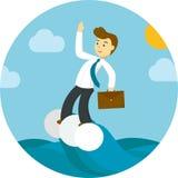 Homme d'affaires sur la vague Illustration Stock