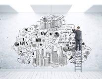 Homme d'affaires sur le croquis de dessin d'échelle Photo stock