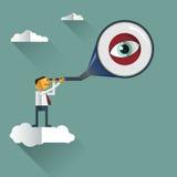 Homme d'affaires sur le nuage et regard avec le télescope Images libres de droits