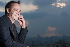 Homme d'affaires sur le téléphone portable Photographie stock libre de droits