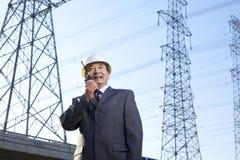 Homme d'affaires sur le talkie-walkie Photos libres de droits