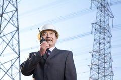 Homme d'affaires sur le talkie-walkie Photo libre de droits