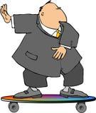 Homme d'affaires sur une planche à roulettes Image libre de droits
