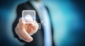 Homme d'affaires surfant sur l'Internet avec l'interface tactile numérique 3 Photos libres de droits