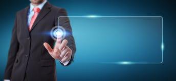 Homme d'affaires surfant sur l'Internet avec l'interface tactile numérique 3 illustration libre de droits