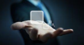 Homme d'affaires surfant sur l'Internet avec l'interface tactile numérique 3 Photos stock