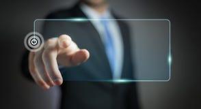 Homme d'affaires surfant sur l'Internet avec l'interface tactile numérique 3 Images stock