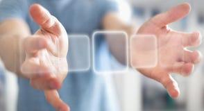 Homme d'affaires surfant sur l'Internet avec l'interface tactile numérique 3 Image libre de droits