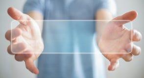 Homme d'affaires surfant sur l'Internet avec l'interface tactile numérique 3 Photographie stock