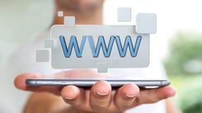 Homme d'affaires surfant sur l'Internet utilisant la barre tactile 3D d'adresse de Web Photographie stock