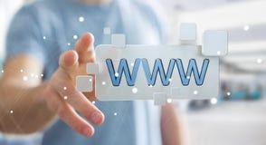 Homme d'affaires surfant sur l'Internet utilisant la barre tactile 3D d'adresse de Web Photo libre de droits