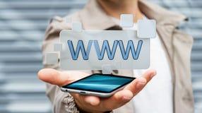 Homme d'affaires surfant sur l'Internet utilisant la barre tactile 3D d'adresse de Web Images libres de droits