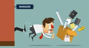Homme d'affaires étant donné un coup de pied hors de la porte par son patron cartoon Images libres de droits