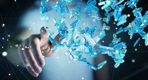 Homme d'affaires tenant 3D rendant le groupe de personnes bleues Photos libres de droits