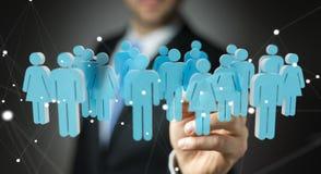 Homme d'affaires tenant 3D rendant le groupe de personnes dans sa main Image libre de droits