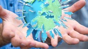 Homme d'affaires tenant 3D rendant le groupe de personnes entourant le pla Image libre de droits