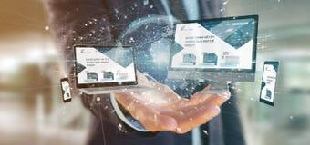 Homme d'affaires tenant des dispositifs reliés à un rendu du réseau 3d d'affaires globales image stock