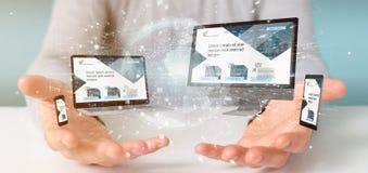 Homme d'affaires tenant des dispositifs reliés à un rendu du réseau 3d d'affaires globales photos stock