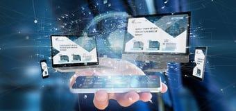 Homme d'affaires tenant des dispositifs reliés à un rendu du réseau 3d d'affaires globales photos libres de droits