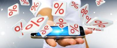Homme d'affaires tenant des icônes de ventes au-dessus du rendu du téléphone 3D Photos libres de droits