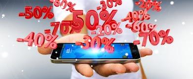 Homme d'affaires tenant des icônes de ventes au-dessus du rendu du téléphone 3D Photo stock