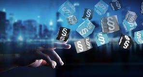 Homme d'affaires tenant et touchant des cubes en loi du rendu 3D Photographie stock
