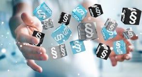 Homme d'affaires tenant et touchant des cubes en loi du rendu 3D Images stock