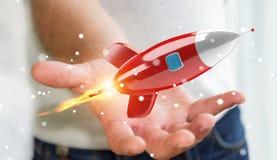 Homme d'affaires tenant et touchant un rendu de la fusée 3D Photo libre de droits
