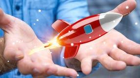Homme d'affaires tenant et touchant un rendu de la fusée 3D Image stock