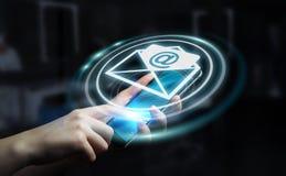 Homme d'affaires tenant l'icône d'email de vol du rendu 3D dans sa main Images stock
