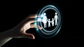 Homme d'affaires tenant l'interface de famille dans son rendu de la main 3D Photos stock