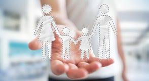 Homme d'affaires tenant l'interface de famille dans son rendu de la main 3D Image stock