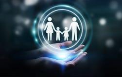 Homme d'affaires tenant l'interface de famille dans son rendu de la main 3D Photographie stock