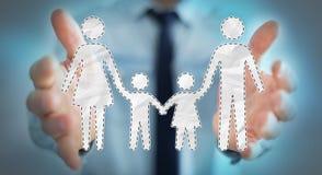 Homme d'affaires tenant l'interface de famille dans son rendu de la main 3D Photos libres de droits