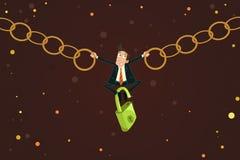 Homme d'affaires tenant la chaîne Image libre de droits