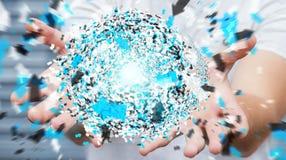 Homme d'affaires tenant la sphère de réseau informatique du rendu 3D dans sa main Photographie stock libre de droits