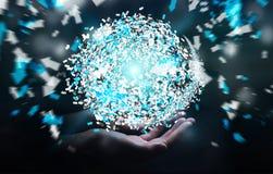 Homme d'affaires tenant la sphère de réseau informatique du rendu 3D dans sa main Photo stock
