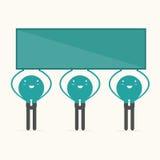 Homme d'affaires tenant le conseil vide pour l'annonce, illustr Images libres de droits
