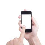 Homme d'affaires tenant le contact futé de téléphone et de doigt d'utilisation photo stock