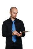 Homme d'affaires tenant le dossier et le stylo Images stock