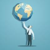 Homme d'affaires tenant le monde dans des ses mains Images stock