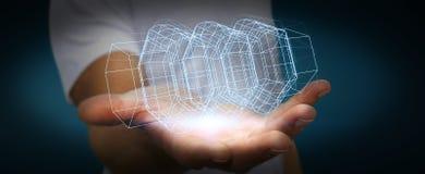 Homme d'affaires tenant le moteur 3D numérique Images libres de droits