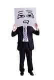 Homme d'affaires tenant le panneau d'affichage confus d'expression image libre de droits